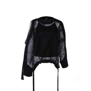 LIE - 黑色針織透視上衣