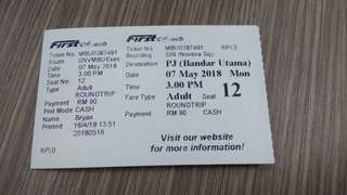 Bus ticket from Singapore to KL today at 3pm