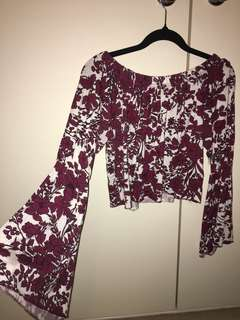 Wine and white floral off the shoulder crop
