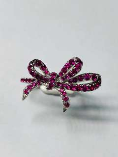 18k white gold set with 1CT ruby ribbon ring