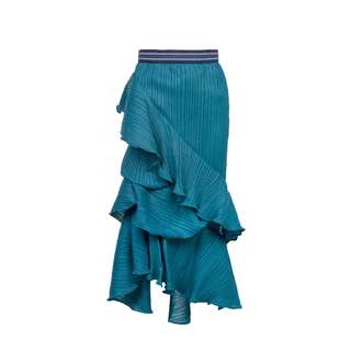 LIE - 湖水藍皺褶長裙