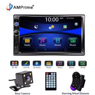 "AMPrime 7023B Universal 2 din Car Multimedia Player Audio Stereo Radio 7"" Touch Screen Video MP5 Player Rear View Backup Camera with reverse camera and steering control"