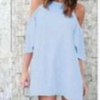 Minimalist Cold Shoulder Tunic Dresses (Blue)