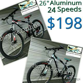 "CROLAN Aluminum Mountain Bikes / MTB 811 ☆ 26"", 24 Speeds ✩ Disc brakes ✩ Front suspension ✩ Light weight ✩ Brand new bicycles"