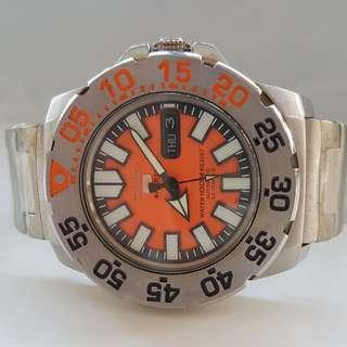 Rare Vintage Seiko Sports Diver Automatic Watch, Beautiful Orange Dial, Stainless Steel Seiko Band, Seiko Time Corp, calibre 7S36, Scuba Submariner for Collector, with Seiko Box