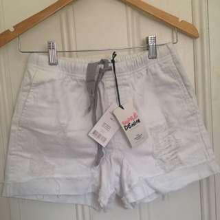 White denim high-waisted shorts BNWT