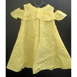 Dress Yellow Polkadot Baby 3yo Dress Bayi 3 thn