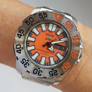 For Collector, For Seiko Lover, Rare Orange Dial, Seiko Diver Wrist Watch, Automatic, Stainless Steel Seiko Band, Seiko Box, Seiko Time Corp, a Scuba, a Submariner, a Beautiful Timepiece