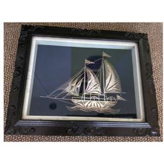 Exquisite Sail boat craft threaded in silver