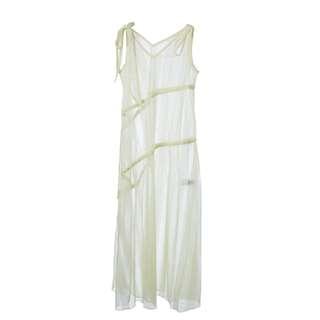 LIE - 淺黃色薄紗透視連身裙