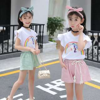 Colorful shorts set two sets of summer children's clothing new big girls casual suit