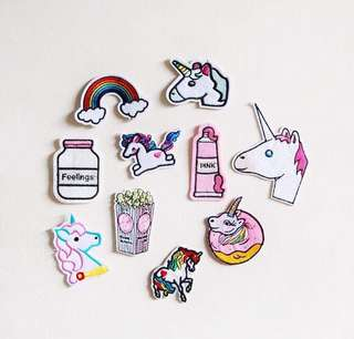 Unicorn Iron- on patches (open for more designs
