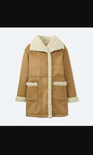 Uniqlo Blocktech Light Brown Polar Fleece Coat Jacket