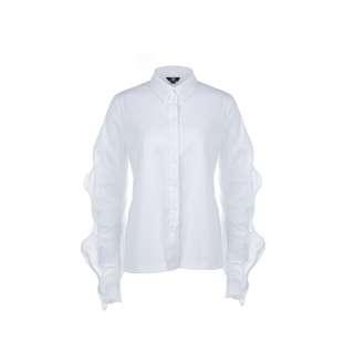 LIE - 白色荷葉邊長袖襯衫