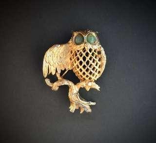 Vintage Owl Golden Brooch