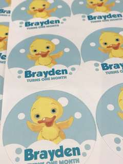 Customised birthday party stickers labels. Full month. Baby shower.
