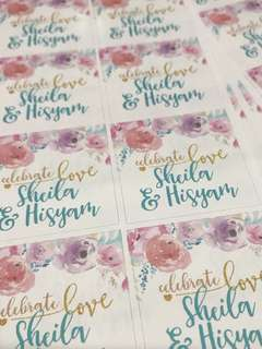 Wedding engagement party sticker labels customised