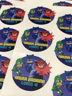 PJ mask birthday stickers labels. Customised.