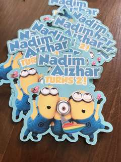 Customised minions birthday sticker labels