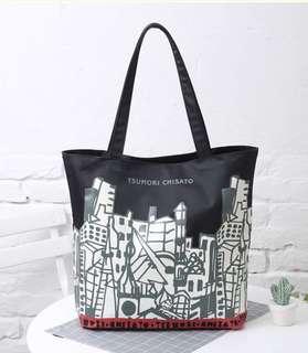 BN Japanese magazine Tsumori Chisato Graffiti shoulder shopper shopping canvas bag tote