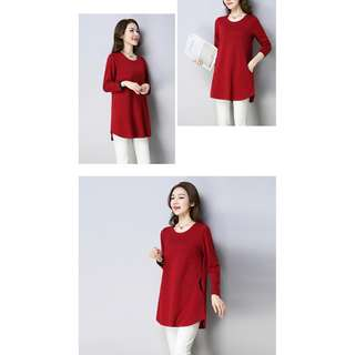 Solid Color Tunic Long Sleeve Top (Red)