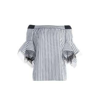 LIE - 黑白條紋露肩上衣