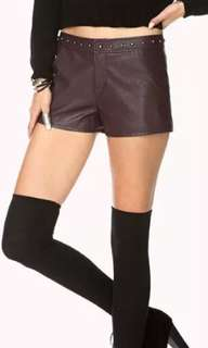 Forever 21 faux leather shorts size 26 27