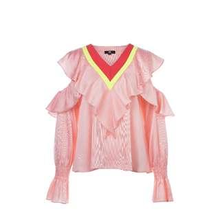 LIE - 撞色條紋V領上衣