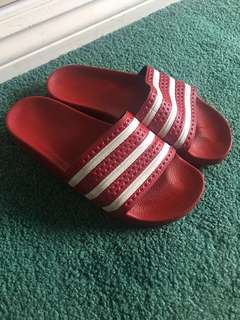 Red Adidas Slides Size 8
