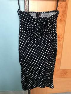 Polka dot black/white Tube dress