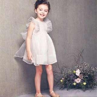 全新歐美童裝優雅公主大蝴蝶結紗裙