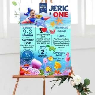 Customize Underwater, Ocean Milestone Board A2, A1 size
