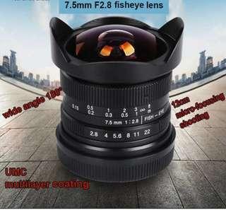 7artisans 7.5mm f/2.8 Fisheye Lens for Fujifilm,m4/3 ,Sony ,Eos-m