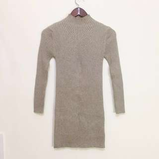 🚚 駝色厚針織坑條打底裙