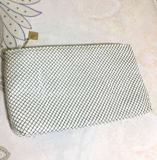 Retro white sequins clutch