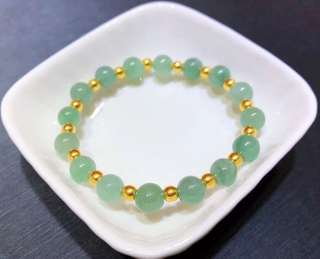 天然翡翠A貨襯足金珠珠手鍊(6mm)