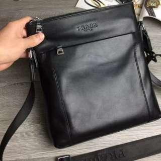 Prada men's leather crossbody sling bag black