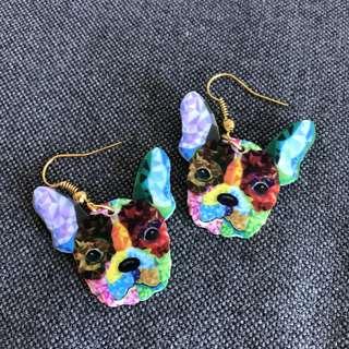 Abstract art bulldog dangling earrings