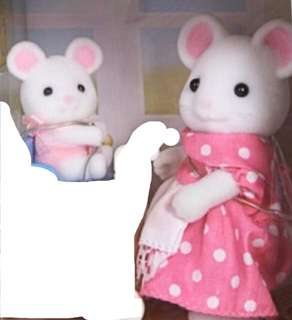 Sylvanian Families White mouse Mother and baby