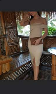 Clearance Stock 100 % New Herve Leger Inspired Off Shoulder Bandage Bodycon dress in Nude