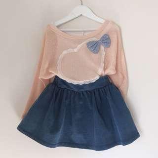 Girls batwing lace heart mesh knit top size 4