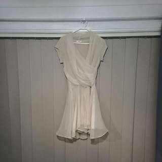 Johnston And Bell Beautiful Nude/peach Colour Wrap Front Cocktail Dress