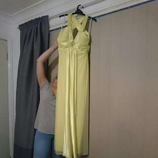 Stunning Lemon Rhinestone Formal Dress