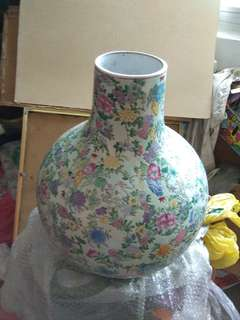 High 20in寸高 乾隆粉彩百花天球大花瓶OLD Porcelain Vase