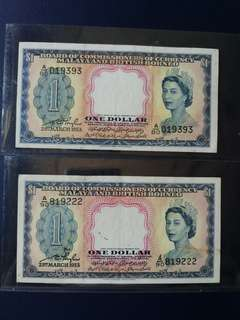 Malaya $1 1953 QEII original good vf /ef 2 pcs   ,