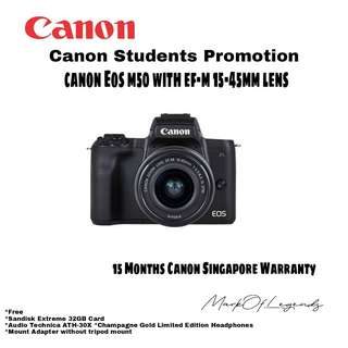 Canon EOS M50 with EF-M 15-45mm