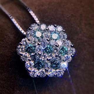 藍鑽石吊墜連頸鏈
