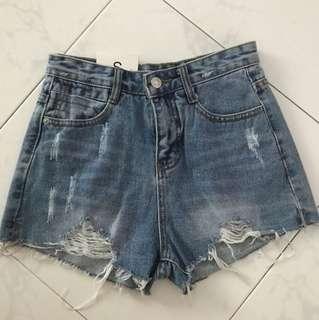 Denim high waist shorts