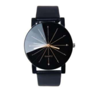 All-Black Leather Watch