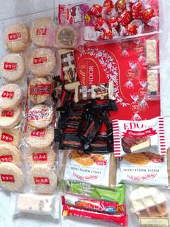 Finest waffle crisps2,tea TIME BREAT1,LINDOR13,TOBLEONE 三角朱古力14,百力芝,韓國饮品2.旺旺14
